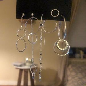 Free People silver looped in Hoop earring set NWT